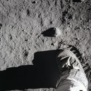 Buzz Aldrin's boot leaves a sharp imprint in the lunar soil on 20 July 1969