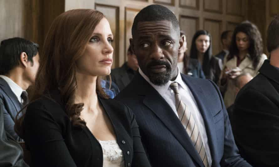 Chastain with Idris Elba in Molly's Game.