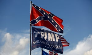 a confederate flag and a Trump flag together