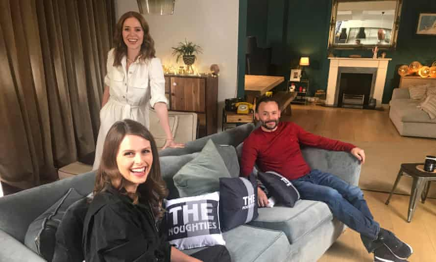 Ellie Taylor (left) and Geoff Norcott join Angela Scanlon on BBC Two's The Noughties.