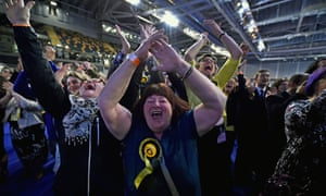 SNP supporters celebrate their successes in the Scottish parliament elections at the Emirates Arena on 6 May 2016 in Glasgow.