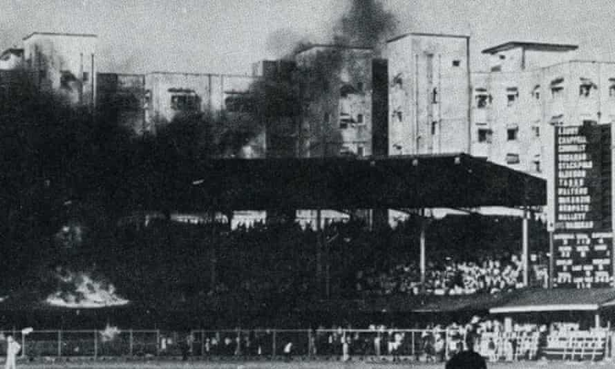 Fire spreads in a stand at the Brabourne Stadium in Mumbai, after crowd trouble erupted during the first Test against Australia in 1969.