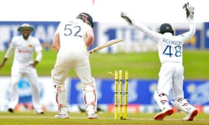 Dom Sibley is bowled out by Lasith Embuldeniya.