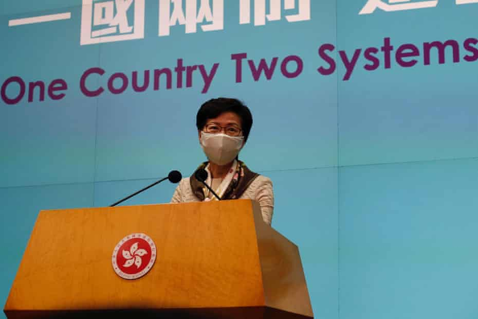 Hong Kong chief executive Carrie Lam in June 2020.