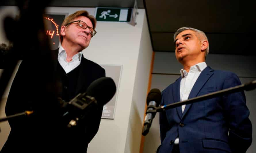 Sadiq Khan answer journalists questions with Guy Verhofstadt, after a meeting on February 18