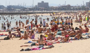 Bathers at St Kilda beach in Melbourne.