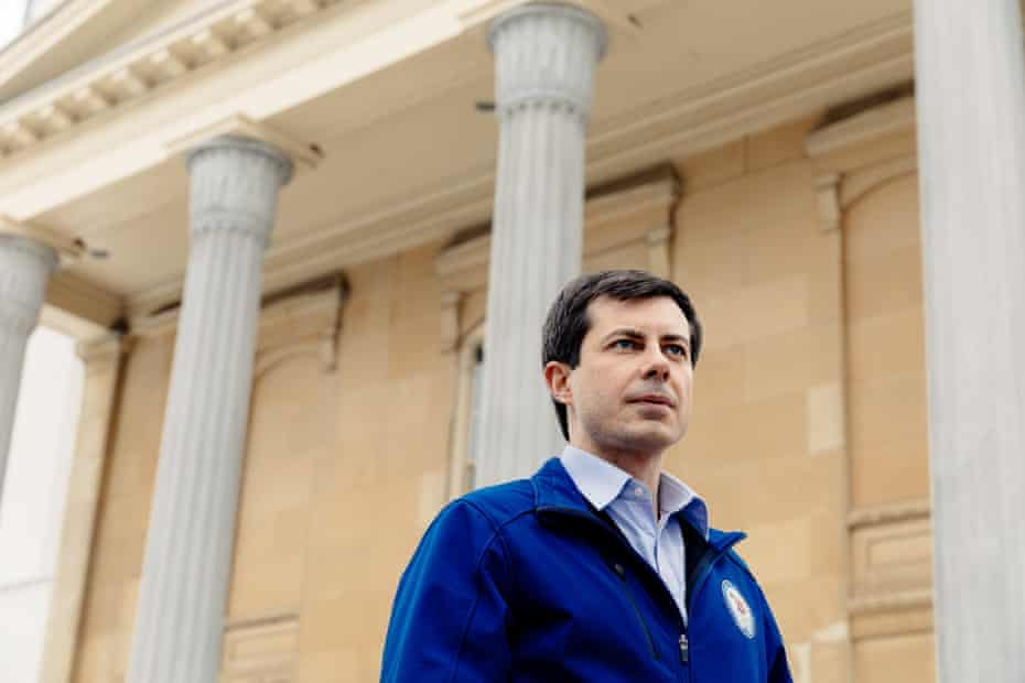 Pete Buttigieg, in front of the county courthouse in South Bend.