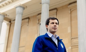 Pete Buttigieg stands in front of the county courthouse in South Bend, Indiana, where he is a two-term mayor. To questions about his experience, he replies: 'I have more experience in government that the president of the United States.'