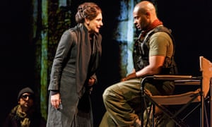 Lucy Peacock and André Sills in Coriolanus.