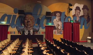 Interior of Magic Lantern, Tywyn, with Hitchcock, Monroe and Laurel and Hardy murals.
