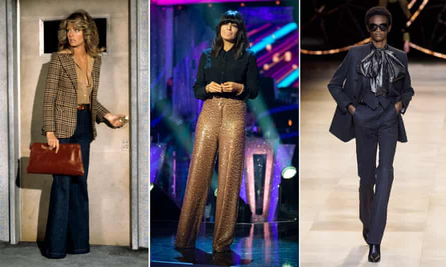 Farrah Fawcett in Charlie's Angels, 1977, Claudia Winkleman going full disco on Strictly this week, and flares by Hedi Slimane on the runway at Celine