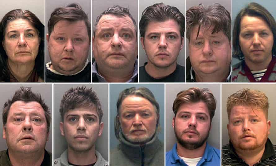Convicted gang members (top row, L-R): Bridget Rooney, 55, Gerald Rooney, 46, John Rooney, 53, John Rooney, 31, Lawrence Rooney, 47, Martin Rooney, 35,(bottom row, L-R): Martin Rooney Sr, 57, Martin Rooney, 23 Patrick Rooney, 54, Patrick Rooney, 31, and Peter Doran, 36