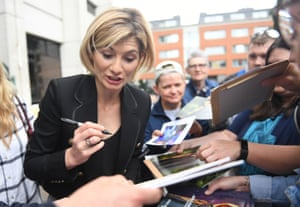 London, UK The new Doctor Who, Jodie Whittaker, signs autographs as she arrives at ITV Studios. She described becoming the first woman to play the Time Lord as 'incredible and really emotional'