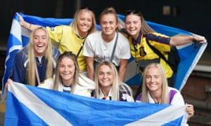Scotland fans at Edinburgh Waverley railway station on Friday morning as they travel to London for the game.