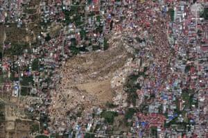 This satellite image of the same Balaroa neighbourhood of Palu was taken on 1 October, 2018.