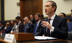 Facebook co-founder and CEO Mark Zuckerberg testifies on Capitol Hill Wednesday in Washington DC.