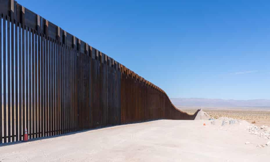 Construction along the border wall at Signal Mountain outside of Mexicali, California