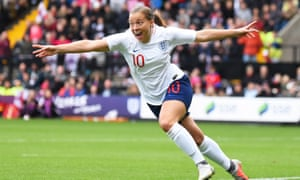 England's Fran Kirby celebrates scoring the only goal of the game against Brazil.