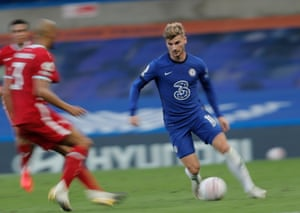 Timo Werner surges forward during Chelsea's game against Liverpool in September.