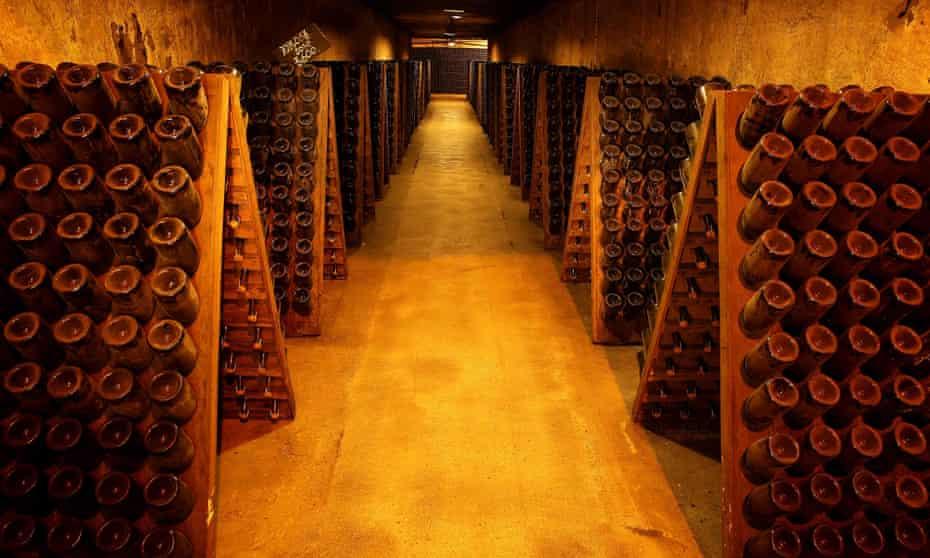 Champagne bottles in the Moet & Chandon cellars, Epernay.