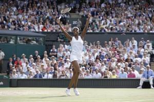 Venus Williams celebrates her win.