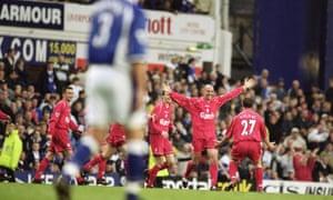 9da2811c Golden Goal: Gary McAllister for Liverpool v Everton (2001) | Sachin ...