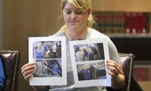 Nurse Alex Wubbels displays video frame grabs from Salt Lake City police department body cameras.