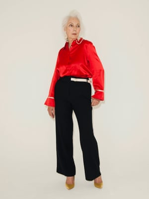Red satin shirt with white piping along collar and cuffs Edition 10 from Fenwicks, black wide legged trousers Next, gold high heeled shoes Next, dangly earrings JCrew