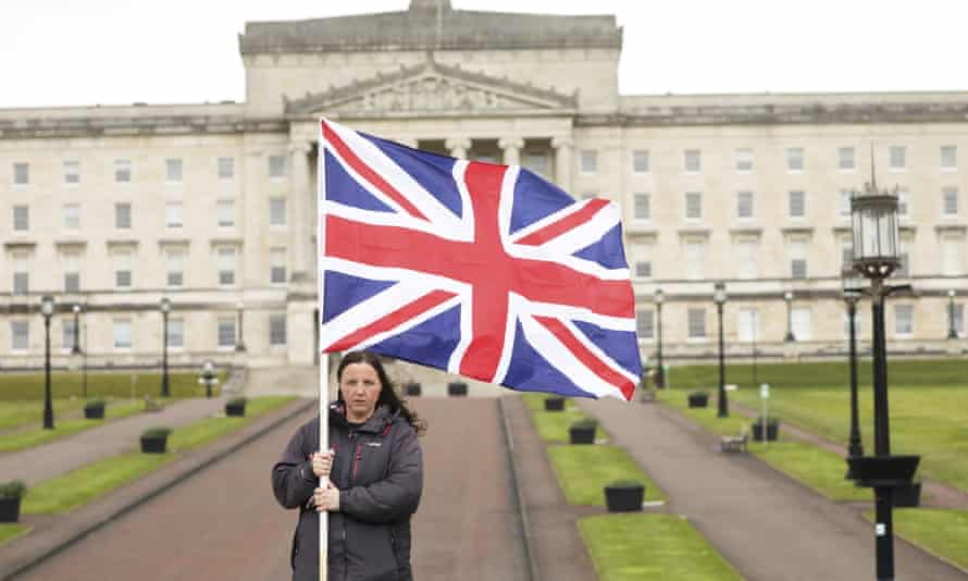 A Loyalist protester opposed to the Northern Ireland protocol on Brexit at Stormont, Belfast.