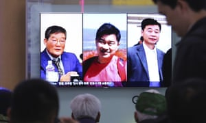 A TV news report in Seoul shows three Americans, Kim Dong-chul, left, Tony Kim and Kim Hak-song, right.