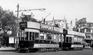 Brighton Corporation Tramways trams, Brighton, c 1920s.UNITED KINGDOM - OCTOBER 08: Taken from the Whitcombe Collection at the Science Museum, London. (Photo by SSPL/Getty Images)