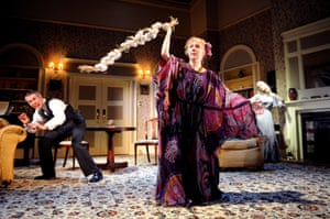 Giles Taylor (Charles Condomine), Liz Crowther (Madame Arcati) and Clare Swinburne (Elvira Condomine) in Blithe Spirit at Nottingham Playhouse 2009