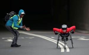 Japan's Tsubasa Kina in action during the women's wheelchair race