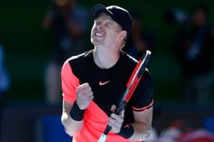 Melbourne, Australia: Kyle Edmund celebrates winning match point in his Australian Open quarter-final against Grigor Dimitrov