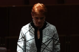 One Nation leader Pauline Hanson during question time in the senate this afternoon,
