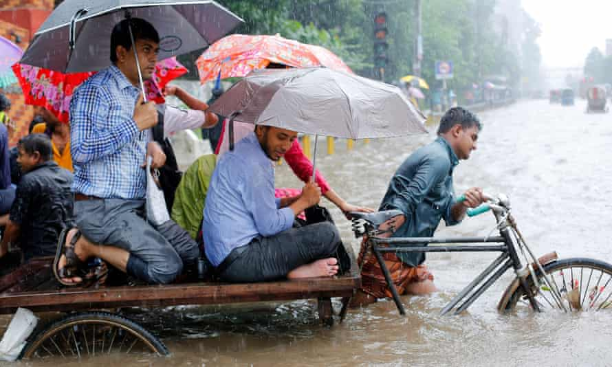 Flooded streets in Dhaka during the monsoon – a perennial problem in Bangladesh.