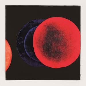 Cadmium-Vermillion Eclipse, an intaglio print by El Anatsui, 2016