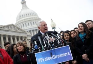 House minority whip Steny Hoyer holds a news conference in Washington, alongside Dreamers from nearly 20 states, on 10 January.