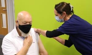 Michael Eavis receiving his first coronavirus vaccination.
