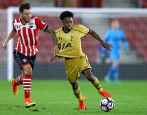 Harley Willard (left) in action for Southampton against Kyle Walker-Peters of Tottenham during a Premier League 2 match in September 2016.