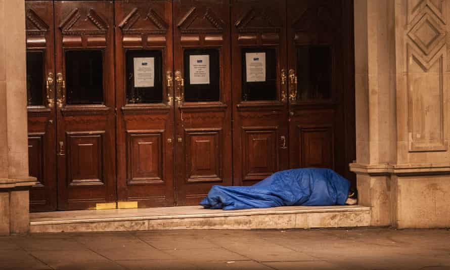 A homeless person in central London