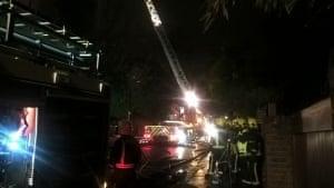 Crews tackling a fire on Daleham Gardens, Hampstead.