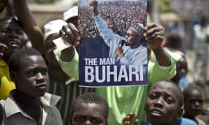 Supporters in Kano, northern Nigeria hail the election of the All Progressives Congress party on Monday.