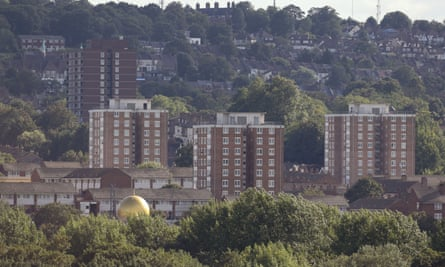blocks of flats in a council estate in south east London