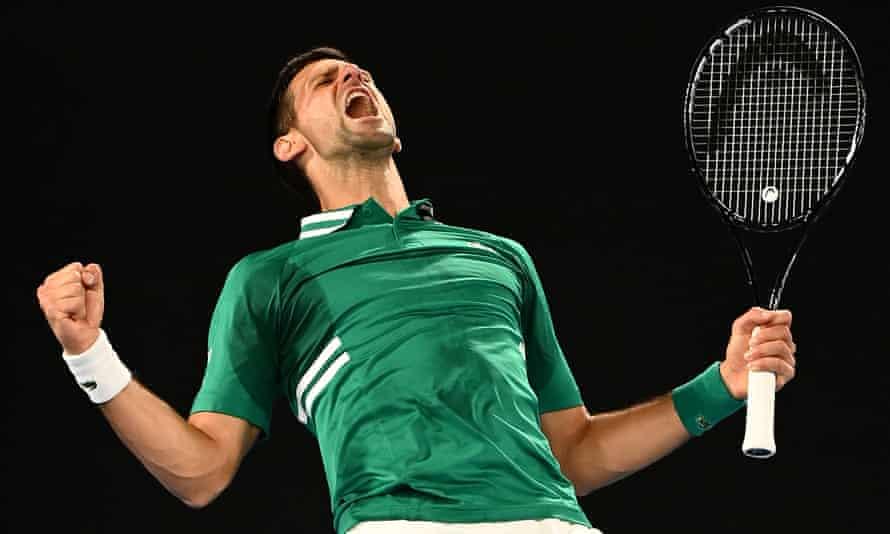 Novak Djokovic celebrates his victory over Taylor Fritz.