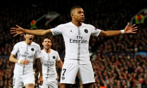Kylian Mbappe celebrates scoring the second goal.