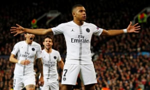 Kylian Mbappé celebrates scoring on a night when the PSG forward showed his best qualities.