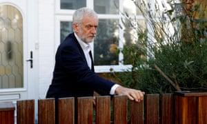 Jeremy Corbyn leaving his home in London.