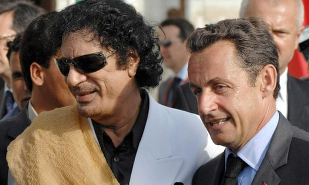 Muammar Gaddafi greeting Nicolas Sarkozy in Tripoli, Libya, in July 2007. One of Mediapart's investigations has claimed the Libyan leader gave €50m to Sarkozy's election campaign.