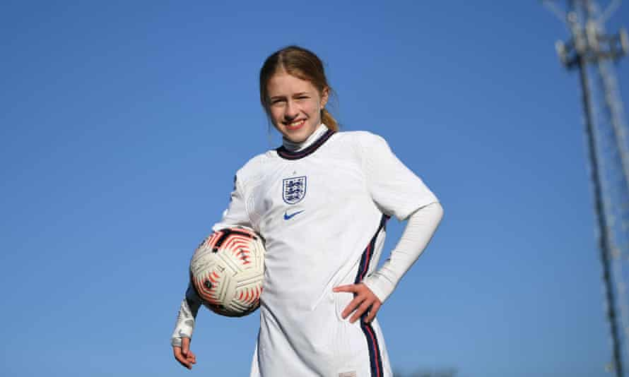 Imogen Papworth-Heidel completes the final of her 7.1 million keepy-uppies at the Abbey Stadium in Cambridge.